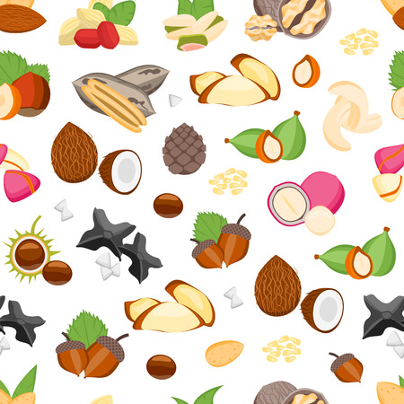 Cartoon Color Nuts Pattern on a White. Illustration
