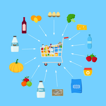 Shopping Cart with Products Shopping Concept. Vector Illustration