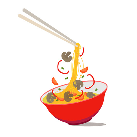 Cartoon Noodle Soup in Chinese Bowl Asian Food for Menus of Cafes and Restaurants Concept Flat Design Style. Vector illustration of Asia Ingredients Soup.