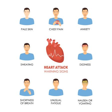 만화 심장 공격 Infographic 카드 또는 포스터. 벡터