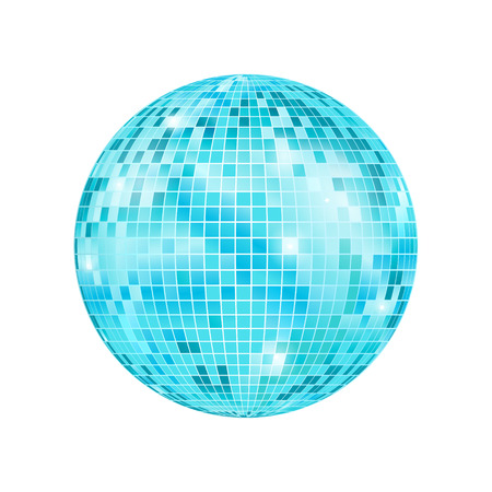 Realistic Detailed Disco Ball Night Club or Party Light Element Mirrorball for Decorating. Vector illustration of Blue Discoball