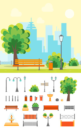 cloud: Cartoon Urban Park with Bench on a Landscape Background and Element Set Flat Design Style. Illustration