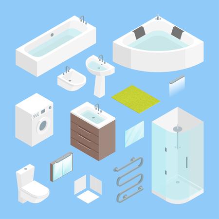 Furniture Bathroom Interior Element Set Isometric View. Vector