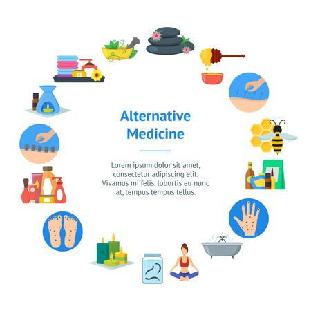 Cartoon Alternative Medicine Banner Card Circle . Vector Illustration