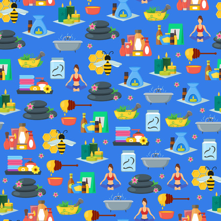 Cartoon Alternative Medicine Background Pattern on a Blue. Vector