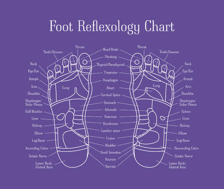 Cartoon Reflexology Feet Alternative Medicine Thin Line. Vector Illustration