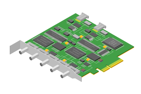 Computer Electronic Circuit Board Component Pc Isometric View. Vector Illustration