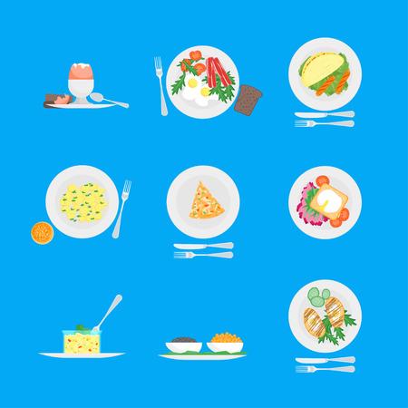 Cartoon Breakfast Menu for Home, Hotel, Cafe or Restaurant Set. Vector Illustration
