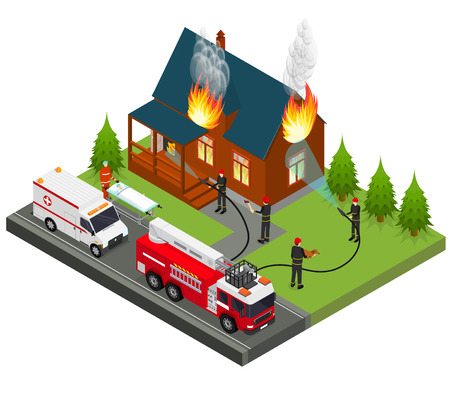 Firefighters Extinguish Fire at House Isometric View. Vector