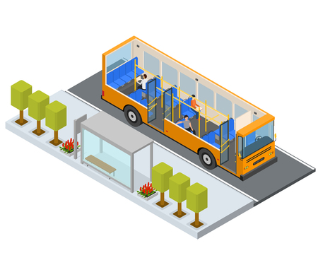 Bus Stop Station Autobus with People and Seats Isometric View Public Transport City. Vector illustration of Bus and Seat