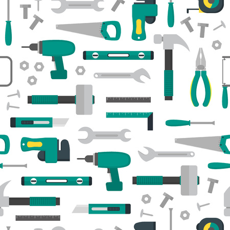 Cartoon Hand Tools Background Pattern on a White. Vector