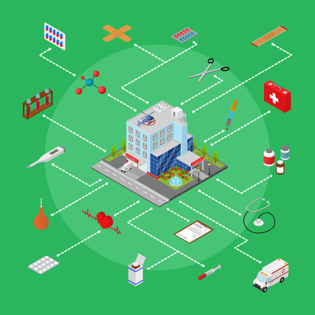 first house: Hospital Building with Equipment Concept Isometric View. Vector Illustration