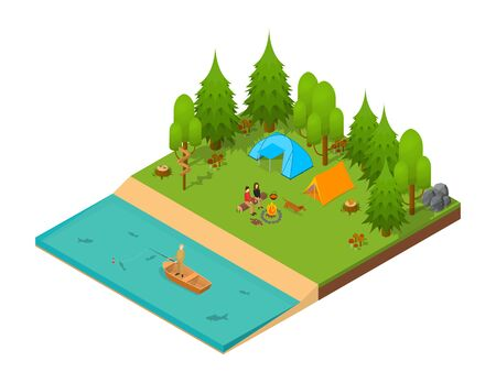 park: Camping Isometric View. Vector Illustration