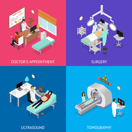 Patient and Doctor Appointment Set Isometric View. Illustration