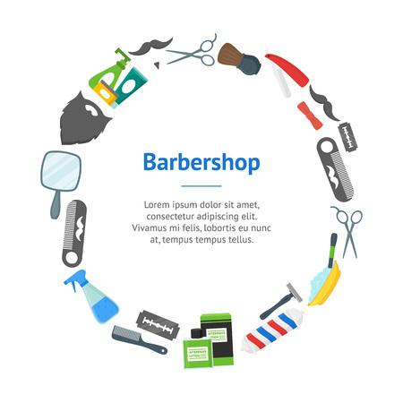 Cartoon Barbershop Shop Banner Card Circle. Vector