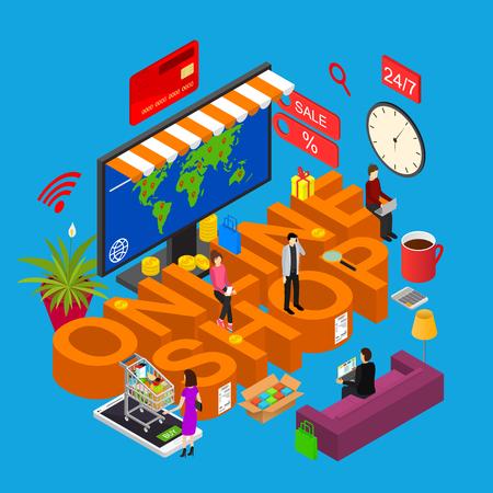 Online Shop Concept 3d Isometric View Internet Technology.