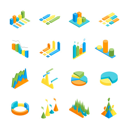 analytic: Charts and Graphs Icon Set 3d Isometric View for Design.