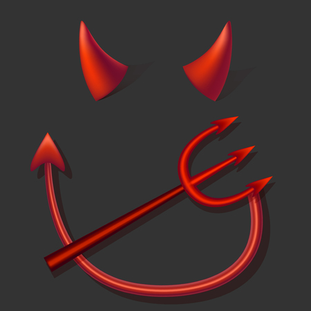 Realistic 3d Devil Red Horns Tail and Fork Set on a Gray Background.