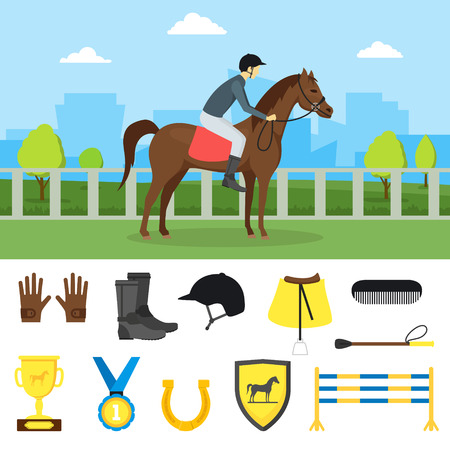 stirrup: Cartoon Equipment Jockey on a Landscape Background and Element Set Sport Concept Flat Design Style. Vector illustration of Equipments Equestrian