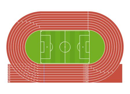 Cartoon Running Track Stadium. Vector