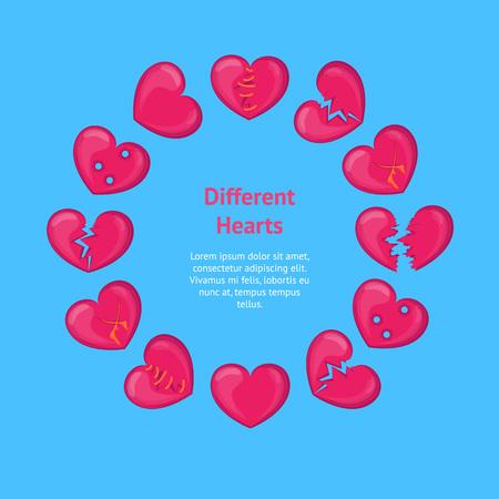 Cartoon Broken Hearts Banner Card Circle. Vector