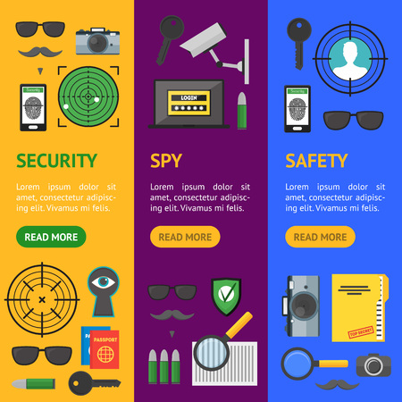 Cartoon Security and Spy Banner Vecrtical Set. Vector Illustration