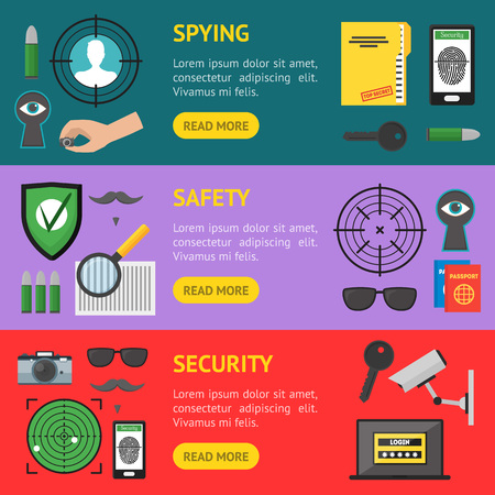 Cartoon Security and Spy Banner Horizontal Set . Vector Illustration