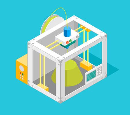 3d Printer Flat Design Style Isometric View. Vector