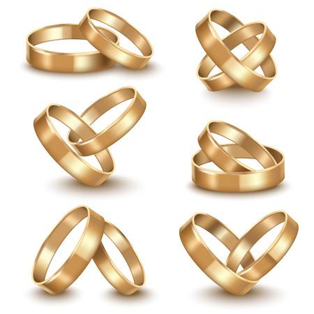 Realistic Detailed Golden Wedding Rings Set. Vector Illustration