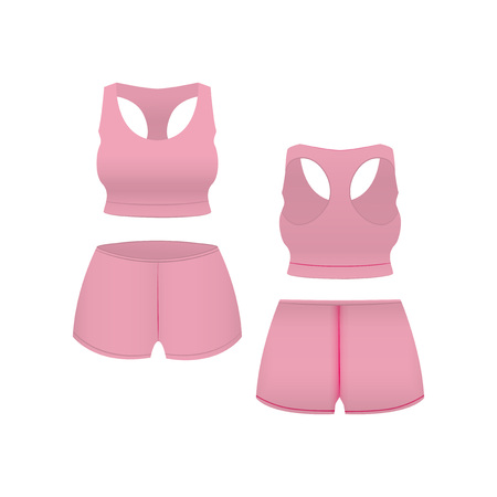 Realistic Template Blank Pink Shorts and Top. Vector