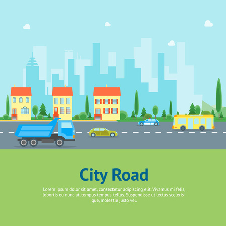 Cartoon Urban Landscape with Road and Transport Card Poster. Vector