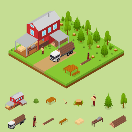 Lumberjack and Sawmill Building Isometric View. Vector