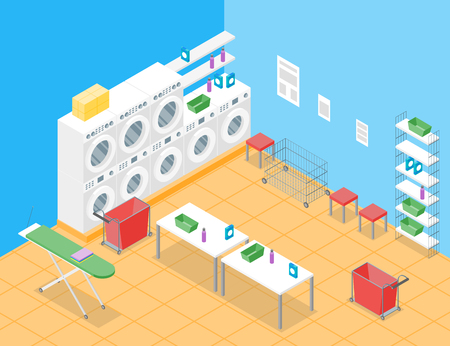 Laundry Room Concept Interior with Furniture Isometric View Housework Service Washing Room Design.