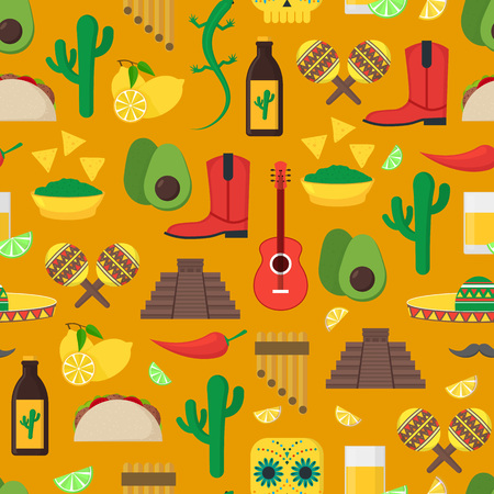 Cartoon Mexican culture seamless pattern on yellow background, vector illustration.