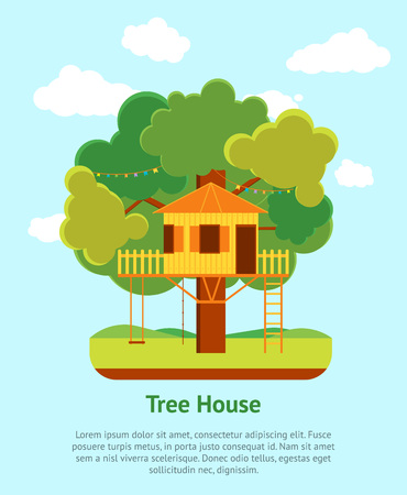 ladder  fence: Cartoon Tree House Card Poster. Vector Illustration