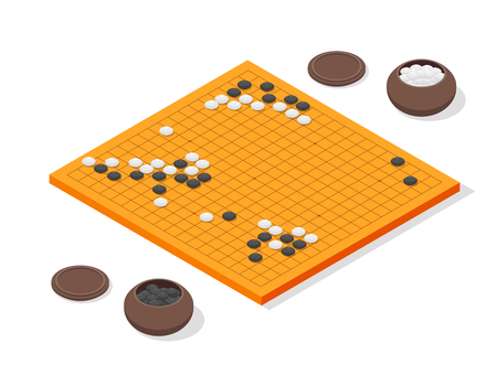 Japanese Board Game Go Concept 3d Isometric View. Vector Vektorové ilustrace