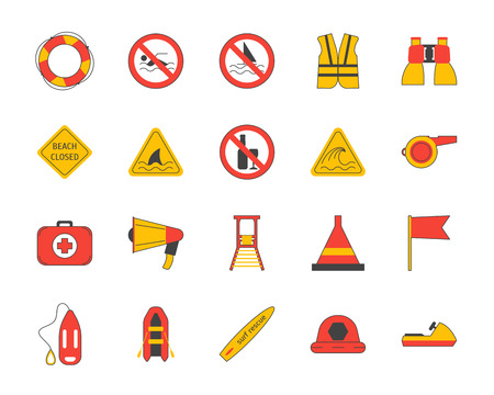 Cartoon Lifeguard Signs Outline Color Icons Set. Vector