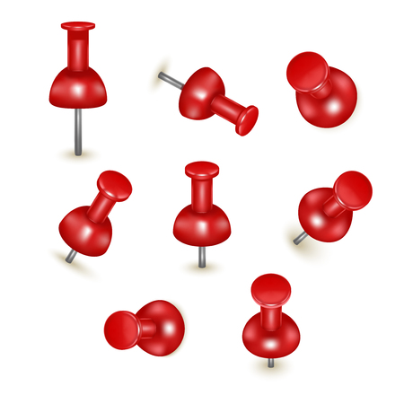 Realistic Detailed 3d Red Push Pins Different Angles Set. Vector Illustration
