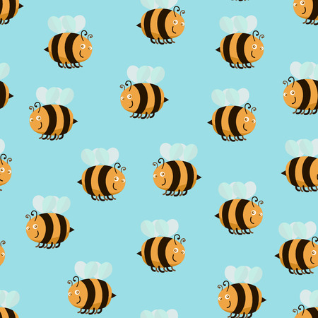 Cartoon colorful bee pattern flat style design.