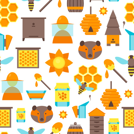 Cartoon Bee Apiary and Honey Elements Background Pattern on a White Flat Style Design. Vector illustration