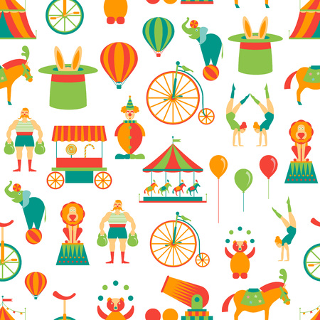 Cartoon Circus Background Pattern on a White Flat Style Design Amusement and Festival Elements. Vector illustration Illustration