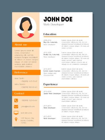 cartoon company application cv female resume template card poster