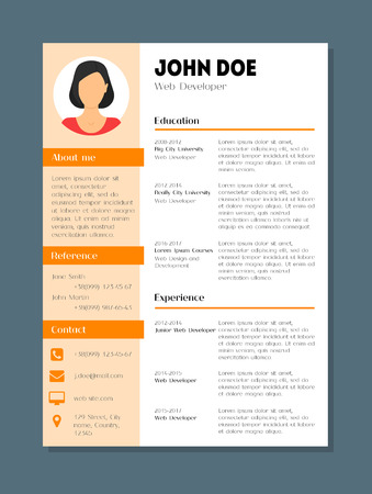 Cartoon Company Application Cv Female Resume Template Card Poster Flat Style Design Skill, Experience and Vitae. Vector illustration