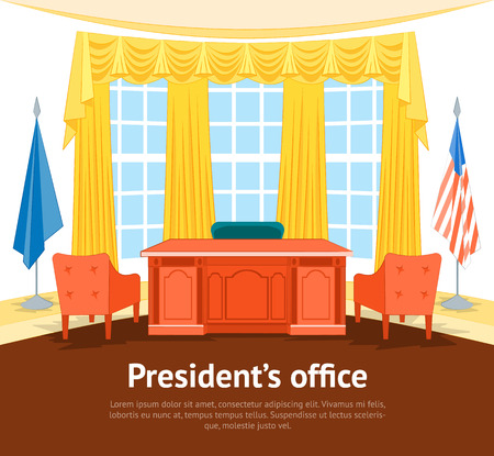 Cartoon Interior President Government Office Card Poster with Furniture. Vector Stok Fotoğraf - 88745303