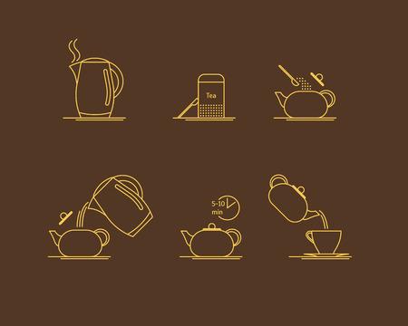 Tea Brewing Thin Line Set. Vector Standard-Bild - 88745304