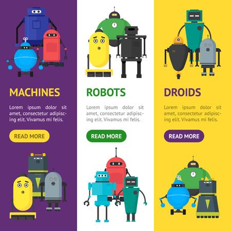 Cartoon cute toy robots banner vertical set.