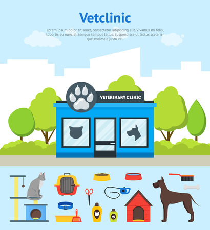 Cartoon Veterinary Clinic Building Card Poster and Elements Set. Vector