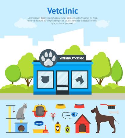 Karikatur-Veterinärklinik-Gebäude-Karten-Plakat und Element-Satz. Vektor Standard-Bild - 88793145