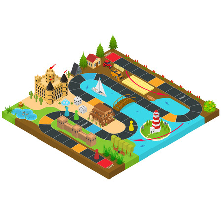 Board Game Concept 3d Isometric View. Vector