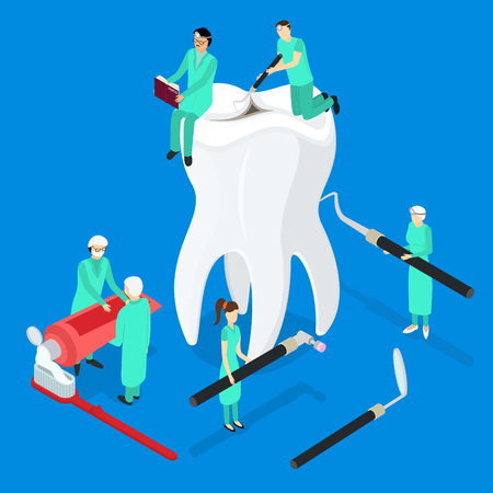 Dental Care Concept 3d Isometric View. Vector